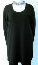 Fabulous favourite Black crepe Jersey A-Line Scoop necked Tunic