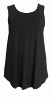 Camisole With Curved Hemline  Black crepe jersey - warm